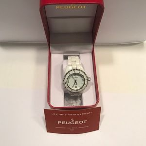 """ Peugeot Women's Quartz Ceramic Casual Watch,Wht"